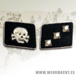 SS-Untersturmfuhrer Rune wire collar patches, Totenkopf