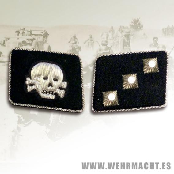 SS-Untersturmfuhrer Rune wire collar patches, Totentopf
