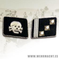 SS-Hauptsturmfuhrer Rune collar patches, Totenkopf