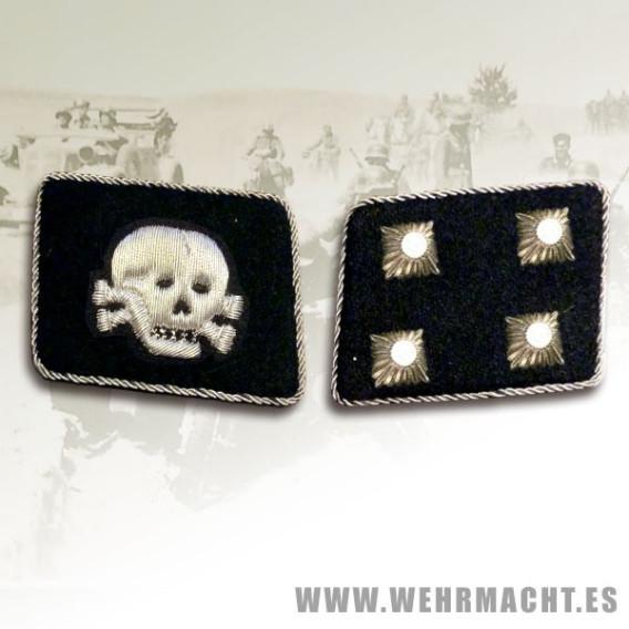 SS-Sturmbannfuhrer Rune collar patches, Totenkopf