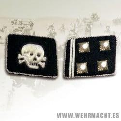 SS-Obersturmbannfuhrer Rune collar patches, Totenkopf
