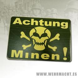 """Cartel """"Achtung Minen"""", Verde"""