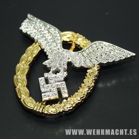 Distintivo Piloto observador en oro y diamantes