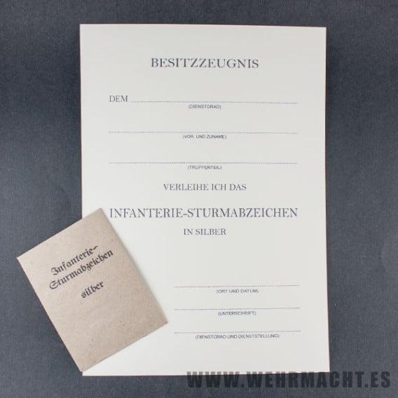 Certificado de Medalla de Asalto de Infantería + Envoltorio