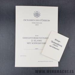 Certificado de la Cruz al Merito Militar de 2ª Clase con Espadas + Envoltorio