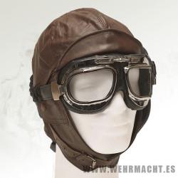 Aviator leather helmet, brown
