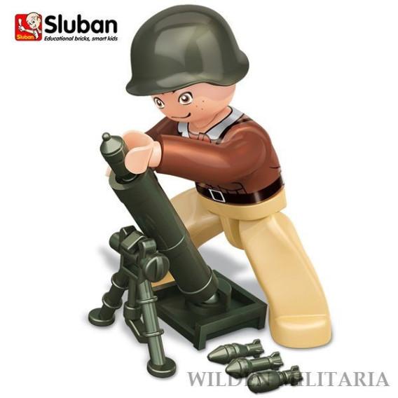 Sluban WWII US soldier with mortar M38-B0581E