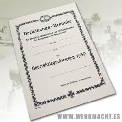 Certificado de la Medalla de Submarinos